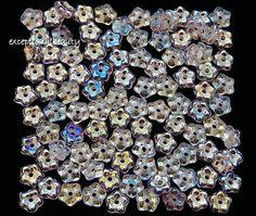 100 Crystal Aurora Borealis Preciosa Czech Glass Flower Disc Rondelle 5mm Beads #PreciosaOrnela #PressedBohemianFloralSpacerAccent