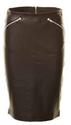 MDK - Crissie Leather - Sort tætsiddende skindnederdel med lynlås
