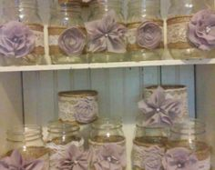 12 Mason Jar Sleeves Wedding Centerpieces by RusticWithElegance