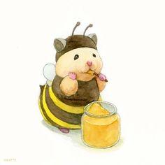 Cute Little Animals, Cute Funny Animals, Cute Animal Drawings, Cute Drawings, Pretty Art, Cute Art, Japanese Hamster, Cute Hamsters, Poses References