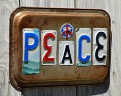 Peace - License plate art - OOAK - Peace sign