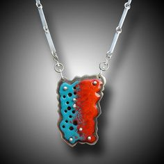 Sterling Silver  Necklace with an Enameled Modern Abstract Sculpture