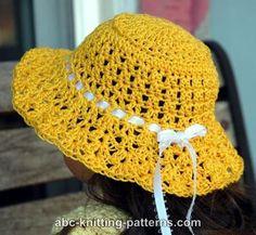 American Girl Doll Sunshine Hat by Elaine Phillips - http://www.abc-knitting-patterns.com/1376.html