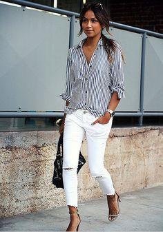 Simple Navy Long Sleeve Stripe Shirt