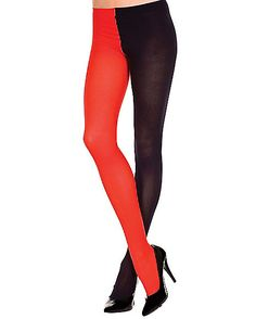 Black Red Opaque Jester Tights - Spirithalloween.com