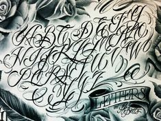 Calligraphy Tattoo Fonts, Tattoo Lettering Alphabet, Tattoo Lettering Styles, Chicano Lettering, Graffiti Lettering Fonts, Font Art, Graffiti Alphabet, Lettering Design, Graffiti Font Style