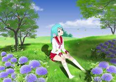 ComiPo - Anime Schoolgirl Enjoying Nature |     anime, birds, digitalart, enjoy, flowers, girl, grass, green, landscape, manga, nature, pretty,  scenery, schoolgirl, shadow, sky, trees, animegirl, comipo