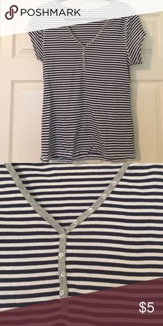 B2GO free all items Super soft  and stretchy navy and white vneck Old Navy Tops Tees - Short Sleeve