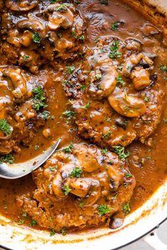 Salisbury Steak With Mushroom Gravy Recipe, Homemade Salisbury Steak, Beef With Mushroom, Salisbury Steak Recipes, Steak And Mushrooms, Stuffed Mushrooms, Easy Steak Recipes, Beef Recipes