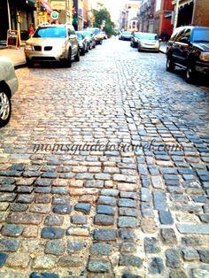 a few of the original colonial cobblestone streets still remain in Philadelphia