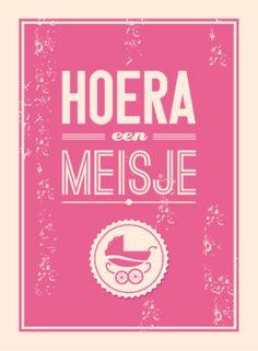 Hoera een meisje, met retro look   Greetz.nl #greetingcard
