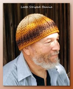 Latte Striped Beanie - http://www.crochetmemories.com/blog/latte-striped-beanie/