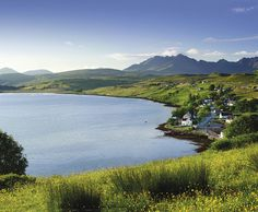Carbost, The loch-side village of Carbost on the Isle of Skye, home of the Talisker Whisky Distillery.