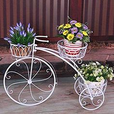 Stand Size: Height Length: inches Pot Size : 6 Inch Rust free protected from powder coated paint D?cor your home and garden with this beautiful cycle planter stand Mordern Style of Gardening/ Perfect gift for those that love outdoor and indoor decor House Plants Decor, Plant Decor, Outside Planters, Iron Plant, Garden Deco, Metal Planters, Flower Stands, Iron Decor, Plant Holders