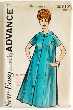 Vintage Womens Size 16 Maternity Dress Advance Sewing Pattern 2717 FACTORY Folds / by AttysVintage on Etsy Maternity Dress Pattern, Maternity Patterns, Maternity Dresses, Easy Sewing Patterns, Vintage Sewing Patterns, Shakira, Maternity One Piece, Comfortable Bras, Loose Fitting Tops