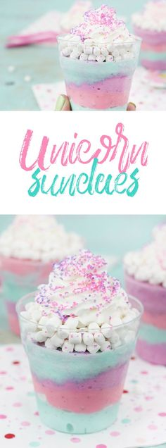 Sundaes Unicorn Sundaes that are actually low cal. SO easy to make. Perfect for unicorn theme parties. Make lighter with Ice Cream.Unicorn Sundaes that are actually low cal. SO easy to make. Perfect for unicorn theme parties. Make lighter with Ice Cream. Köstliche Desserts, Delicious Desserts, Dessert Recipes, Yummy Food, Cake Recipes, Dinner Recipes, Awesome Desserts, Easy To Make Desserts, Tasty