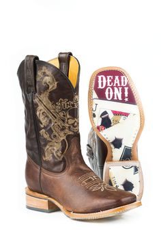 Tin Haul Mens Outlaw Brown Leather Cowboy Holey Cards Boots
