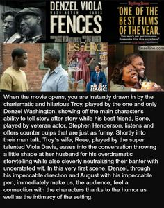 Stellar directorial debut for Denzel Washington with FENCES movie.  See guest blogger Tunisia Jolyn's post.