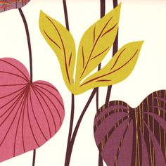 Kings Road Curtain Fabric Raspberry - Simple leaves with gentle vein detailing adorn this quality cotton fabric in colours of pink, purple and green. Leaf stems are a deep purple in colour.