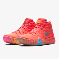 3de1d66fadce Details about NIKE KYRIE 4 USED SIZE 12 LUCKY CHARMS BRIGHT CRIMSON MULTI  COLOR BV0428 600