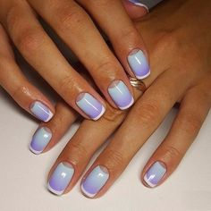A beautiful summer French manicure. A combination of white, purple and light blue colours give a freshness, the incredible brightness for the nails and con