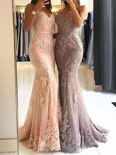 Charming Prom Dress, Appliques Mermaid Evening Dress, Lace