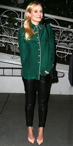 DIANE KRUGER  The fearless fashionista takes a risk while out in West Hollywood, donning black skinnies, nude heels and an emerald pajama-esque top.