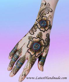 Flowering Arabic Glitter Mehndi Design