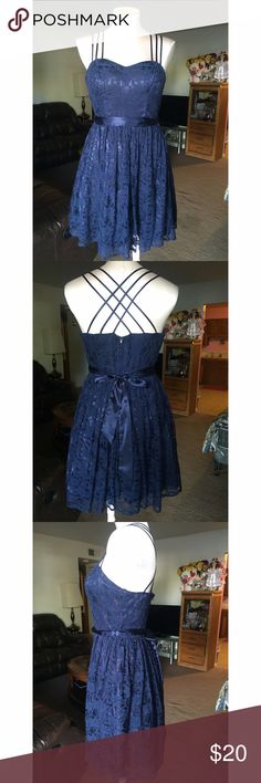Beautiful dress Navy blue , lace , heart shape, skater cross beautiful back dress , WINDSOR Dresses Midi