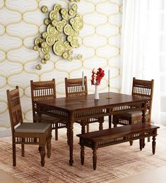 Buy Taksh Solid Wood 6 Seater Dining Set (with Bench) with Brown Upholstery by Mudramark Online – Traditional 6 Seater Dining Sets – Dining – Furniture – Pepperfry Product - fanvan. Wooden Dining Table Designs, Dinning Table Design, Wooden Dining Tables, Modern Dining Table, Dining Set With Bench, Dining Sets, 4 Seater Dining Table, A Table, Dining Furniture