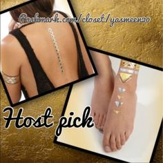 """Metallic temporary jewelry tatoos Beautiful temporary body jewelry tatoos! Water resistant. Lasts up to 6 days! New in package. Includes 4 sheets of assorted tattoos. HOST PICK: The """"Best in jewelry and accessories """" Party. Accessories"""