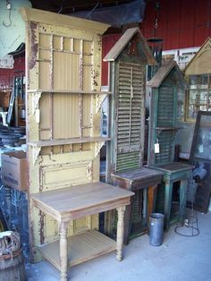 Potting benches made from old doors and shutters