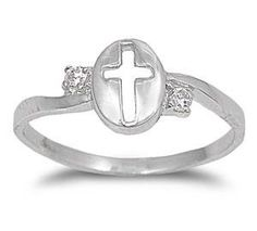 Shiny Clear CZ Sideways Religious Cross Lucky Ring Solid 925 Sterling Silver Plain Simple Sideways Religious Cross Religious Ring Gift