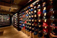 New Era flagship store, Tokyo store design Shoe Store Design, Clothing Store Design, Shop Interior Design, Retail Design, Design Shop, New Era Store, Retail Wall Displays, Spring Window Display, Cap Store