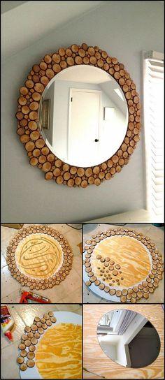 DIY Wood Slice Mirror: This unique mirror is ideal for your living . - DIY Decor - DIY Wood Slice Mirror: This unique mirror is ideal for your living area, bedroom, - Diy Home Decor Projects, Diy Wood Projects, Wood Crafts, Woodworking Projects, Men Crafts, Easy Crafts, Outdoor Projects, Intarsia Woodworking, Outdoor Crafts