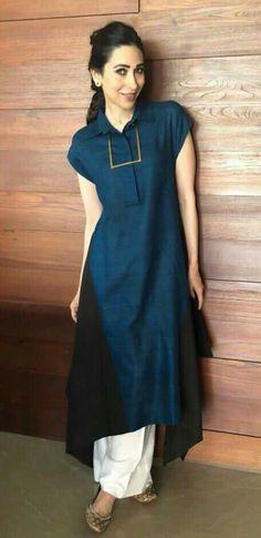 Beautiful kurti with so light beautiful detailing Simple Kurti Designs, Kurta Designs, Blouse Designs, Simple Dresses, Casual Dresses, Fashion Dresses, Casual Wear, Girls Dresses, Indian Dresses