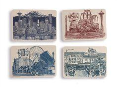 NEW!! Landmarks of Seattle Postcards -  Set of 8  // Seattle Washington Cards // Mt. Rainier // Collage // Cityscapes