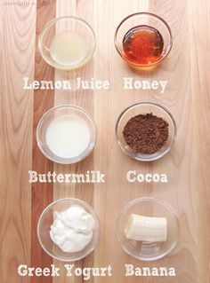 Mascarilla facial: *Jugo de limon *Miel *Suero de leche *Cocoa *Yogurth natural *Pedazo de platano.