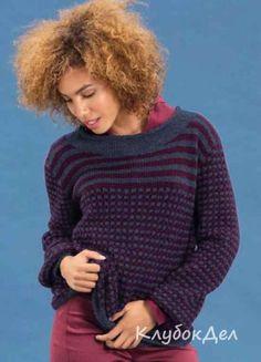 Пуловер в полоску с узором с протяжками