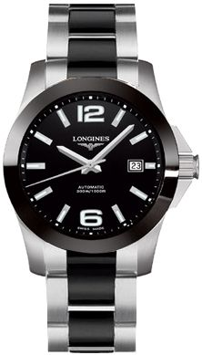 L3.657.4.56.7   NEW LONGINES SPORT COLLECTION CONQUEST MENS WATCH     Usually ships within 3 months - Click to view IN STOCK Luxury Watch Sale - FREE Overnight Shipping- NO SALES TAX (Outside California) - WITH MANUFACTURER SERIAL NUMBERS- Black Dial- Date Feature -   Self Winding Automatic Movement- 3 Year Warranty- Guaranteed Authentic- Certificate of Authenticity- Ceramic