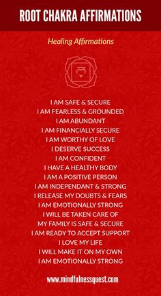 Affirmations are very effective in healing blocked root (muladhara) chakra. In this article we learn how to practice affirmations to heal the root chakra. Root Chakra Healing, Self Healing, Healing Affirmations, Positive Affirmations, Chakra Raiz, Muladhara Chakra, Mudras, Healing Meditation, Meditation Music