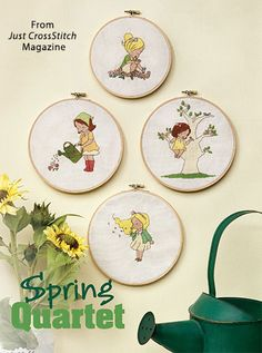 Spring Quartet from the Mar/Apr 2016 issue of Just CrossStitch Magazine. Order a digital copy here: https://www.anniescatalog.com/detail.html?prod_id=129764