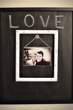 Personalize a picture frame with chalkboard paint. Great for #Valentines Day. Sign up for free at brightnest.com to get more #DIY and design ideas!