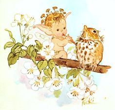 Sweet baby fairy with flute and baby bird on apple blossoms branch / artist  Mary Brooks?