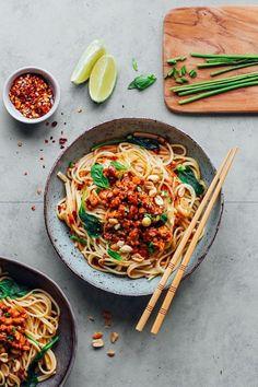 Dan Dan Noodles with Tempeh Scramble #healthyrecipes #noodles #noodlerecipes #pasta #vegan