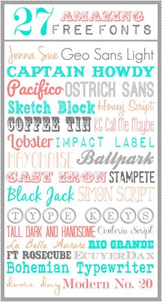 The Crafted Sparrow: 27 Amazing Free Fonts Fancy Fonts, Cool Fonts, Awesome Fonts, Typography Fonts, Typography Design, Computer Font, Call Me Maybe, Cricut Fonts, Clip Art