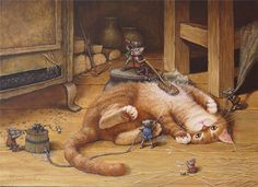Mice scrubbing cat