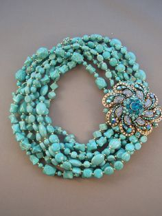 Layered Turquoise with Blue Rhinestone Brooch Necklace