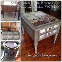 Goodwill table, upcycled with chalk paint and decoupage.  By SnazzyLittleThings.com
