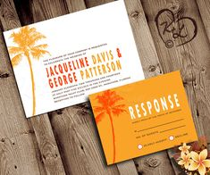 PRINTABLE WEDDING Invitation Set Palm Tree Beach Destination Tropical Hawaii Bridal Retro Modern Engagement RSVP Custom Orange Yellow unique...